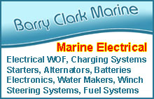 Barry Clark Marine, marine electrical, electrical warrant of fitness (WOEF), starter motors, alternators, batteries, fuel systems, steering systems, winches, water makers, desalinators, electronics, navigation equipment